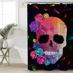 Geometric Skull Shower Curtain Waterproof Polyester Gothic Colorful Rose Floral Bath Curtain With Hooks