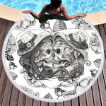 Skull Large Beach Towel for Adult Couples Vintage Microfiber Towel Blanket Floral Black White Gothic Picnic Mat
