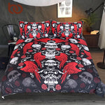Skull With Wings Bedding Set Roses Gothic Duvet Cover 3pcs Hippie Red Black White Adults Bedspread Vintage Bed Set