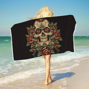 Sugar Skull Bath Towel With Tassels Microfiber Vintage Beach Towel Red White Rectangle Floral Yoga Mat 75x150cm