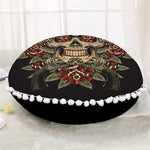 Sugar Skull Round Floor Pillow Case Vintage Cushion Cover Poufs Flower Decorative Pillowcase Pillow Cover For Sofa