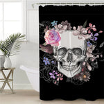 Sugar Skull Shower Curtain Flowers Printed Waterproof Bath Curtain Floral Polyester Bathroom Decoration With Hooks