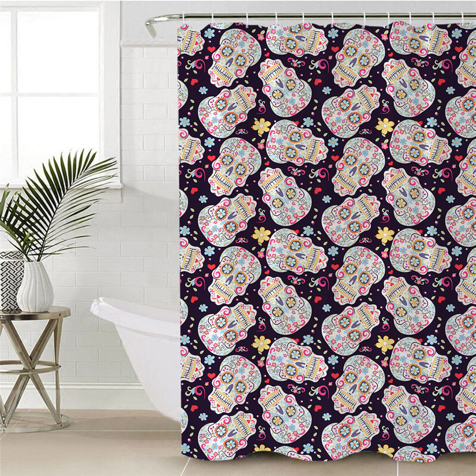 Sugar Skull Shower Curtain Polyester Waterproof Flowers Colorful For Bathroom Decorations With Hooks