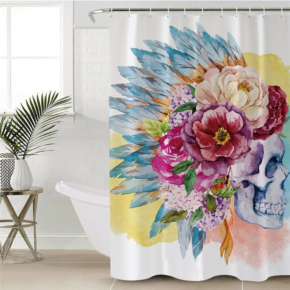 Sugar Skull Shower Curtain Waterproof Colorful Bathroom Curtain Flower Tribal Home Decor With Hook
