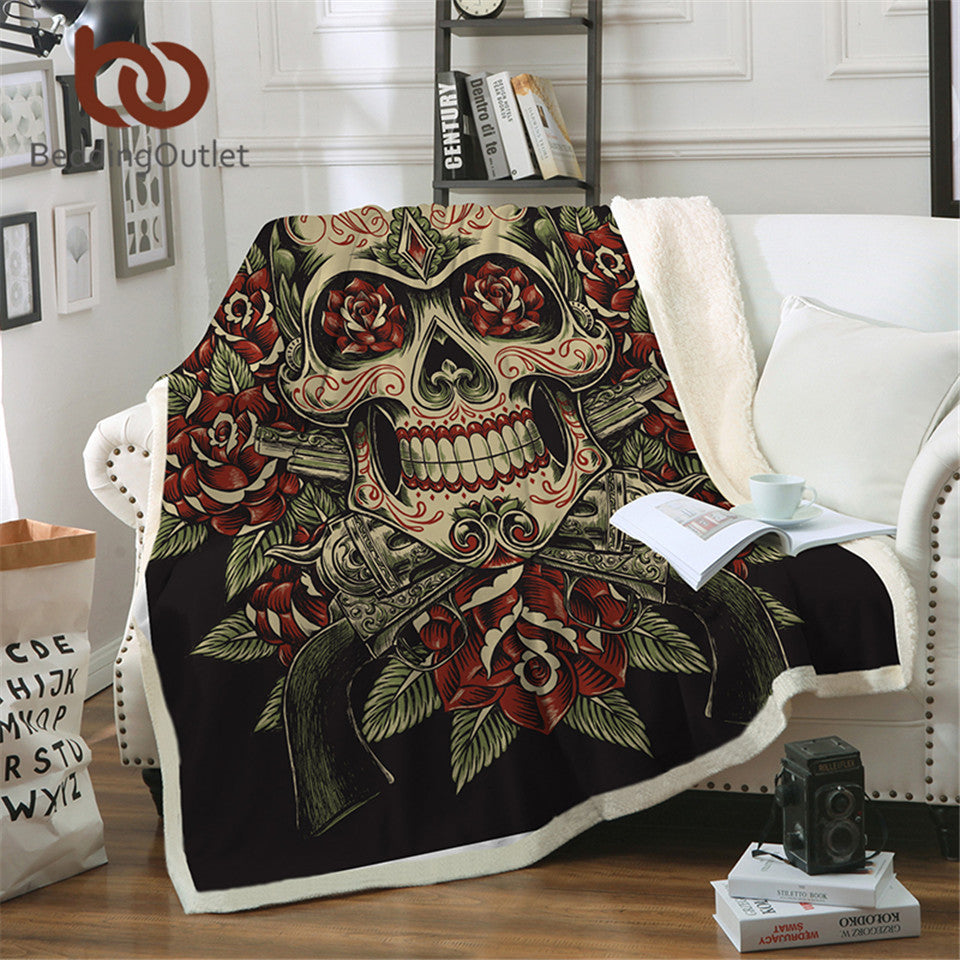 BeddingOutlet Sugar Skull Velvet Plush Reversible Sherpa Blanket Floral Vintage Fleece Blanket Flowers Black White Bedding