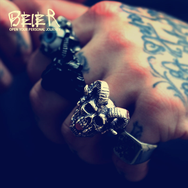 New store 316L Stainless Steel men ring  Goat horns skull punk biker ring  fashion jewelry