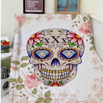Blanket Comfort Warmth Soft Plush Easy Care Machine Wash  Floral Sugar Skull Art Sofa Bed Throw Kid Adult Warm Blanket