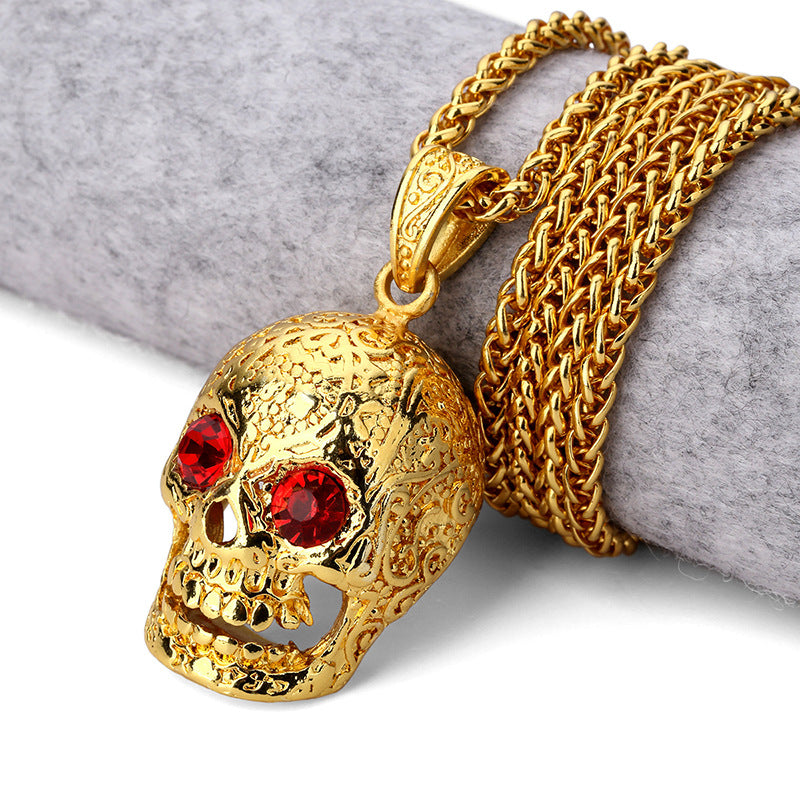 Bling Gold Red  Stone Eyes Ghost Rhinestone Pendants Necklaces Men Women Hip Hop Crystal Skull Head Jewelry Gifts Chains