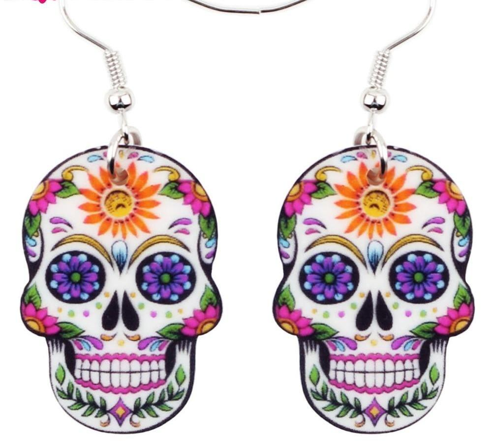 Skeleton Skull Earrings Big Long Punk Fashion Jewelry