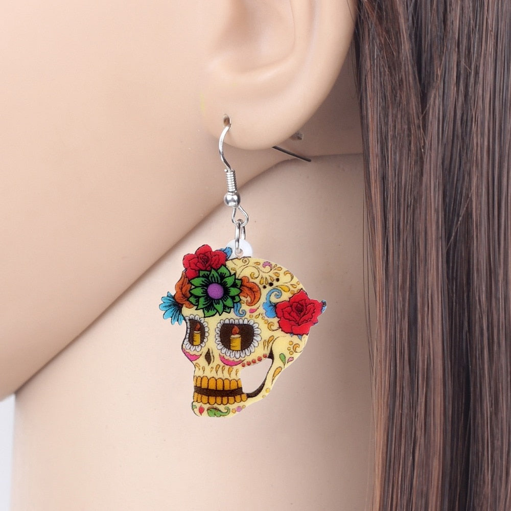 Floral Skull Earrings Dangle Drop New Fashion Earrings