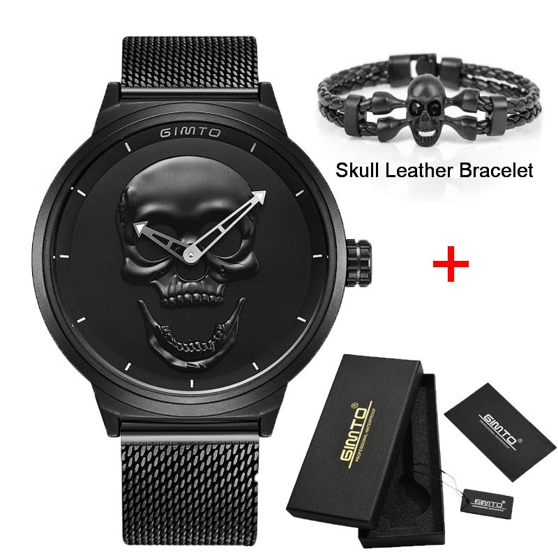 Brand New Style 3D Skull Men Watch Gift Leather Steel or Mesh  Waterproof Clock
