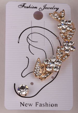 Butterfly left ear cuff wrap clip earrings gold silver color  australian crystal jewelry for women