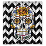 CHARMHOME Custom Chevron Sugar Skull Shower Curtain Stylish Waterproof Polyester Fabric Bathroom Deco