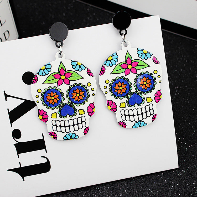 Calavera Cross Skull Earrings Celebrate Mexican Day of the Dead Halloween Acrylic Cute Skull Earring For Women