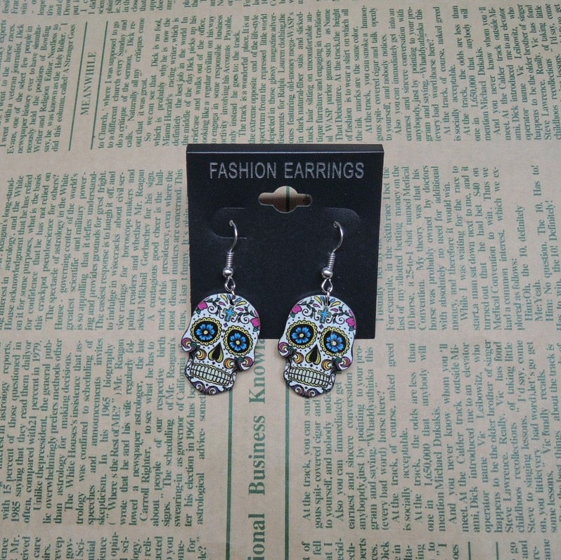 Calavera Sugary-sweet whimsical skull Earrings Celebrate Mexican Day of the Dead Halloween Acrylic Sugar Skull Earring For Women
