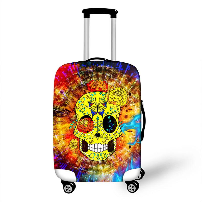 Cartoon 3D Sugar Skull Print Travel Luggage Protective Covers 18 to 28 Inch High Elastic Women Suitcase Dust Protections Cover