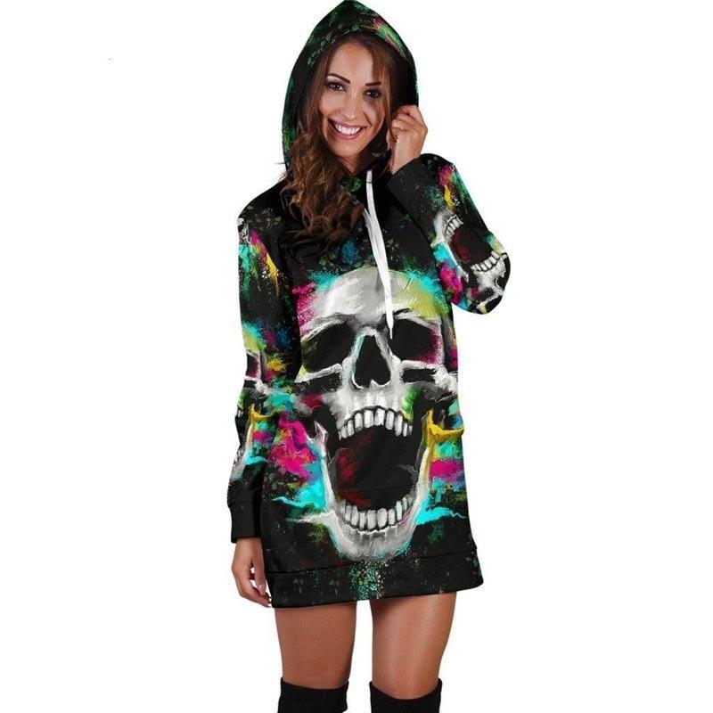 Casual Autumn Winter Skull Hooded Dress Women Long Sleeve 3d Print Plus Size Sweatshirt Dresses Sexy Drawstring Dress Vestidos