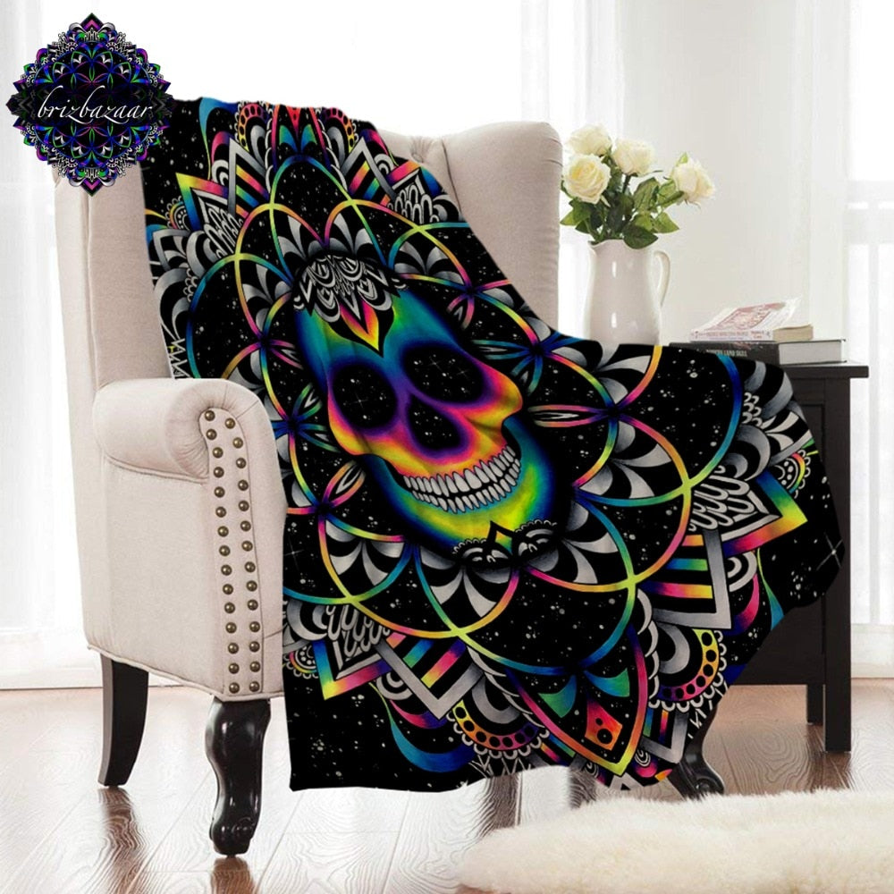 Flannel Blanket Gothic Skull Coral Fleece Bed Blanket Colored Mandala