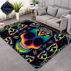 Large Carpets for Living Room Colorful Skull Area Rug