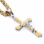 Christian Jesus Cross Crystal Pendant Necklaces Thick Link Byzantine Chain Stainless Steel Men Jewelry Colar Gift 21.65""