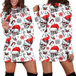 Christmas White Snowflake Skull Women Hoodie Dress
