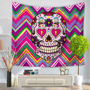 Coloful Skull Head Tapestry Wall Hanging Door Curtain Multi-purpose Beach Towel Yoga Mat Blanket Table Cloth Home Decor 1PC