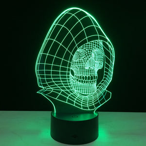 Colorful 3D skull LED lamp 3D lamp headlight visual creative gift table lamp night light colorful table lighting decoration