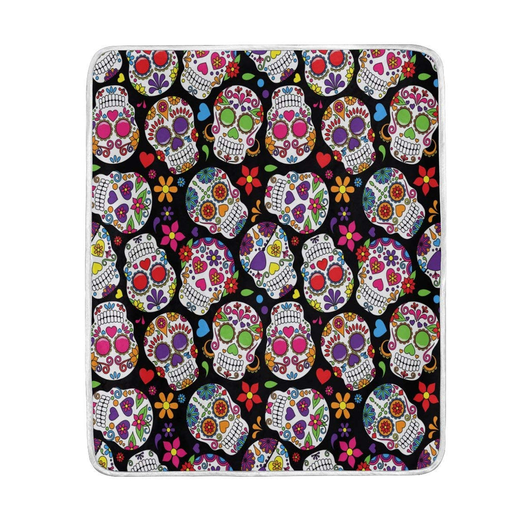 Colorful Floral Sugar Skull Black Blanket Soft Warm Cozy Bed Couch Lightweight Polyester Microfiber Blanket