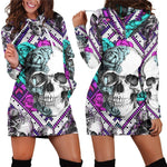Colorful Skull Flamingo Printed Pocket Dress Women Dress