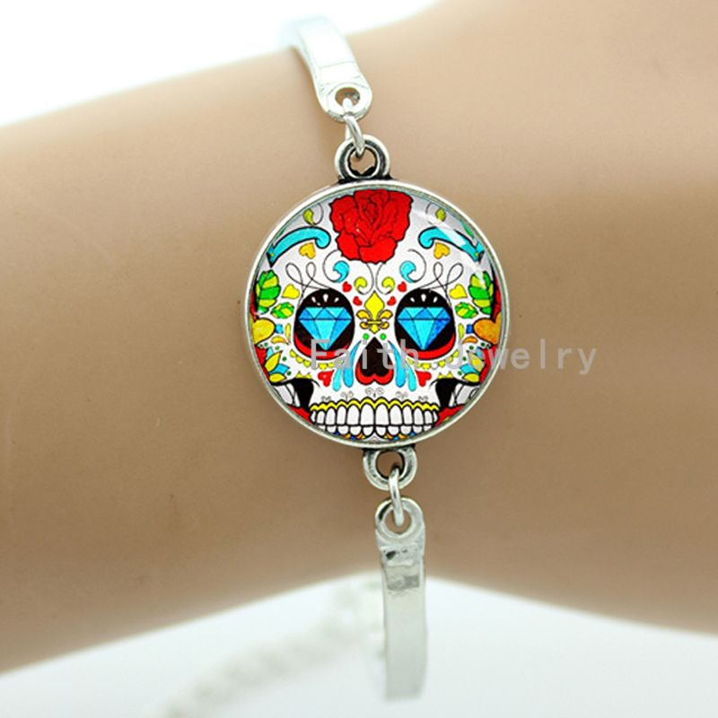 Colorful sugar skull bracelet hipster red floral roses charm skeleton jewelry Day of the Dead Halloween jewellery