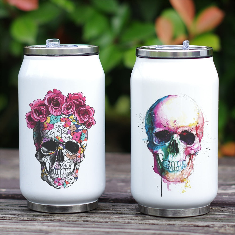 Cool Design Bottle Skull Thermos Cup with Straw Creative Watercolor Painting Print Bottle Stainless Steel  Vacuum Insulated