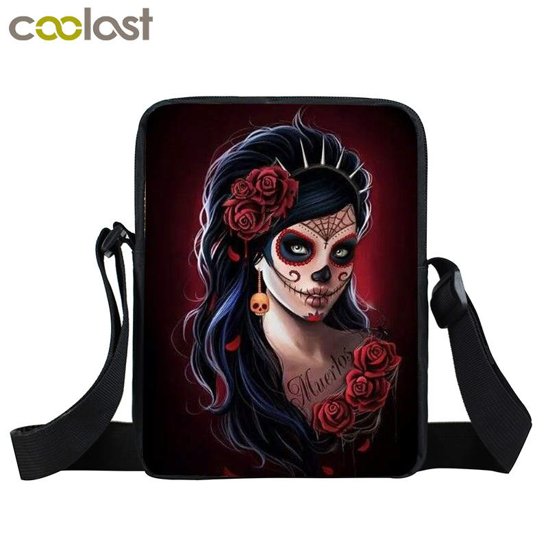 Cool Gothic Girl Mini Messenger Bag Rock Women Handbag Kids Crossbody Bag Skull Children School Bags Boys Girls Bags Best Gift