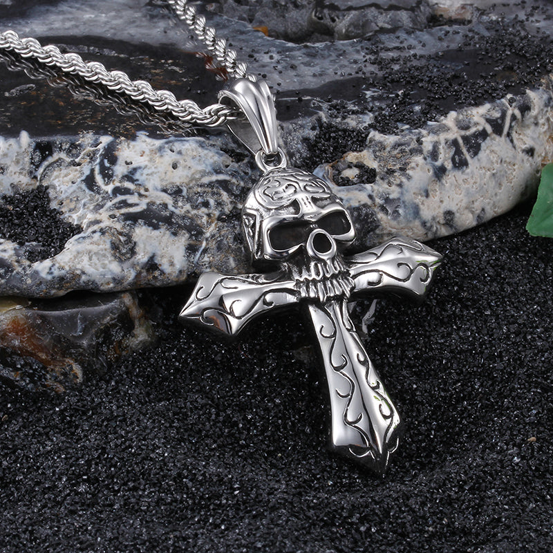 Cool Large Biker Stainless steel Skeleton skull Cross Pendant Men's Rope Necklace Gothic  Jewelry 22'' Vintage