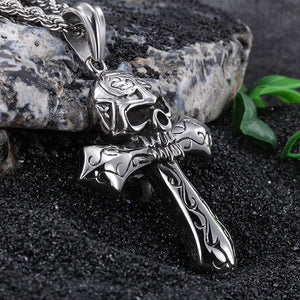 Cool Large Biker Stainless steel Skeleton skull Cross Pendant