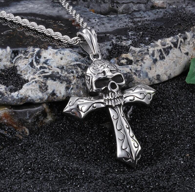 Stainless steel Skeleton skull Cross Pendant Men's Rope Necklace Gothic Jewelry 24'' Vintage