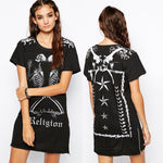 Cool Punk Style Short Dress Skull Print Women Casual Club Dresses Fashion Short Sleeve Zipper Split Summer T Shirt Dress