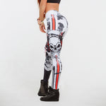 Cool Skull Printed Women Yoga Leggings Push Up Skinny Tight Pants Female Lady Sportswear Running Leggins Trousers Workout