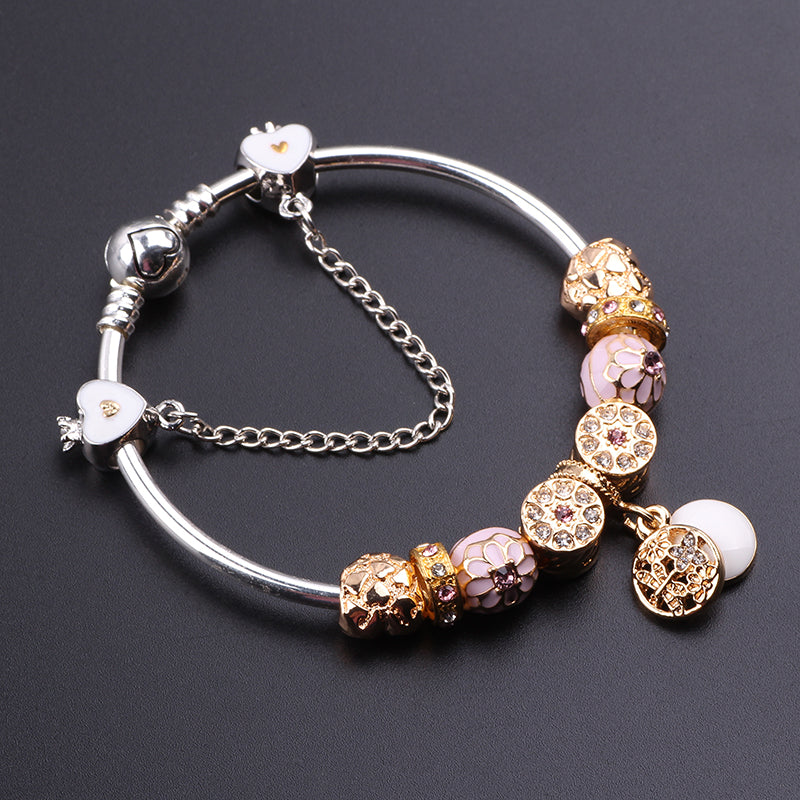 2018 Cute Charm Bracelet With Flower Pendant Charm Gold Murano Glass Beads Friendship Fit Women Bracelet DIY Jewelry