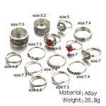 Crazy 14 pcs /Set Flower Midi Ring Sets for Women Boho Beach Vintage Turkish Punk Sun Knuckle Ring Jewelry