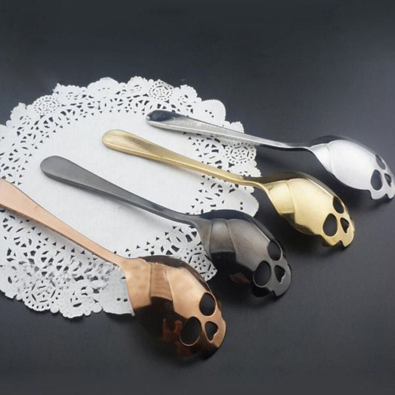 Set 5 spoons - Creative Stainless Steel Skull Shape Coffee Sugar Stirring Drink Scoop Spoon Dessert Gothic Tableware Kitchenware Cutlery Gift