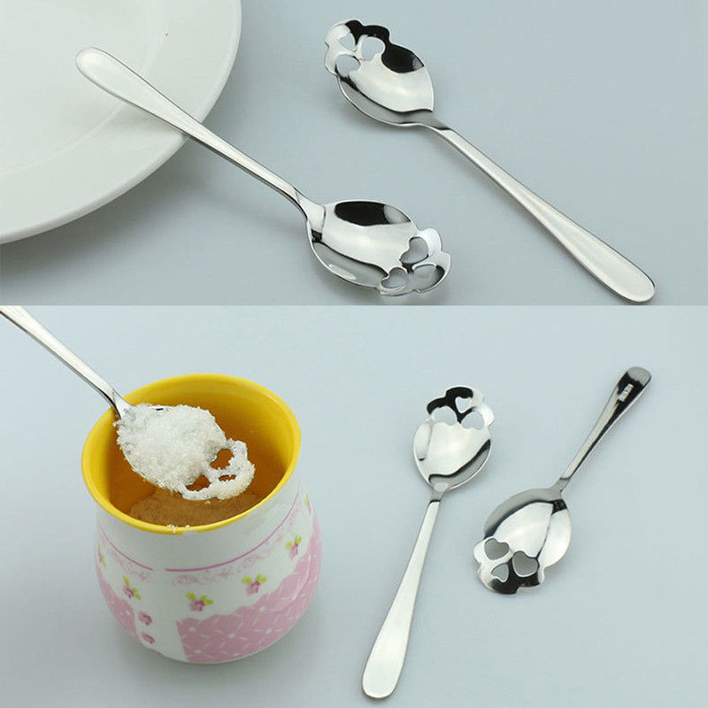 10 spoon/package - Creative Stainless Steel Skull Shape Coffee Sugar Stirring Drink Scoop Spoon Dessert Gothic Tableware Kitchenware Cutlery Gift