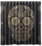 Customized Day of the Dead Sugar Skull Shower Curtain Waterproof
