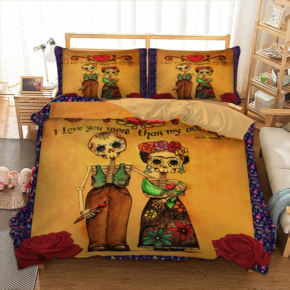 Cute love skull Bedding Set Duvet Cover With Pillowcases