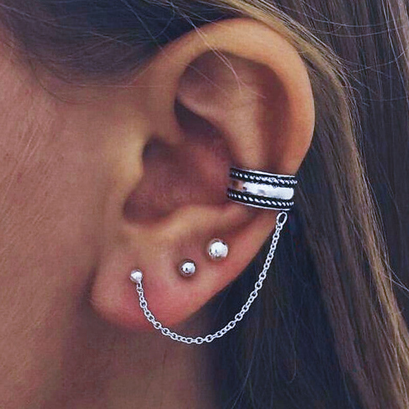 New Arrival Vintage Maxi brincos Elegant Statement Silver Chain Earrings Fashion Jewelry Ear Cuff Clip Earrings For Women