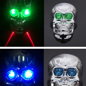 Outdoor Camping hiking sports Skull Head Shaped 2 Laser Beam and 5 LED Rear Tail Light Lamp Safety Rear Light