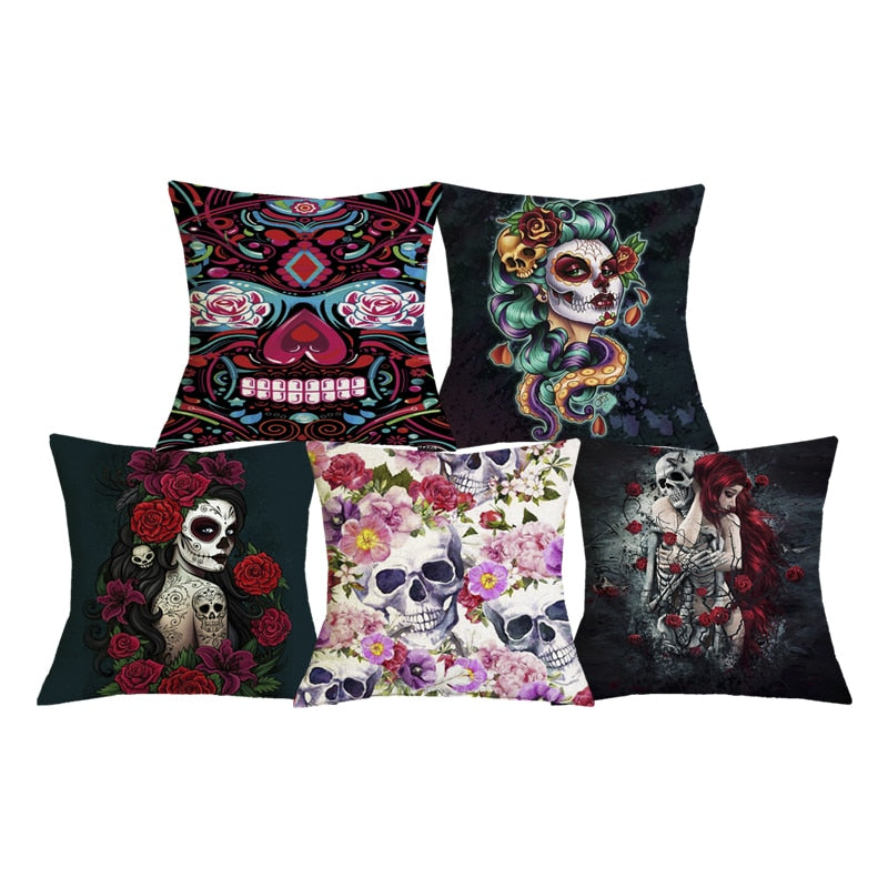 Day of the Dead Floral Skull Print Throw Pillows for Couch Halloween Decorative Pillow Covers Sugar Skull Girl Cushion Case