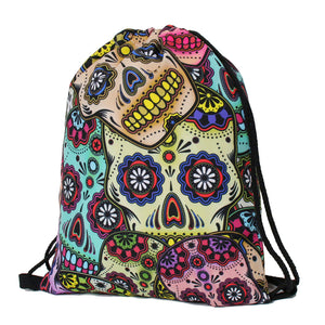 Daily backpack unisex mexican skull women backpacks blue softback 3d print polyest