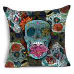 DecorUhome Folkloric Sugar Skull Cushion Covers Polyester Sequin pillow Cover for Sofa Bed Nordic Decorative Pillow Case