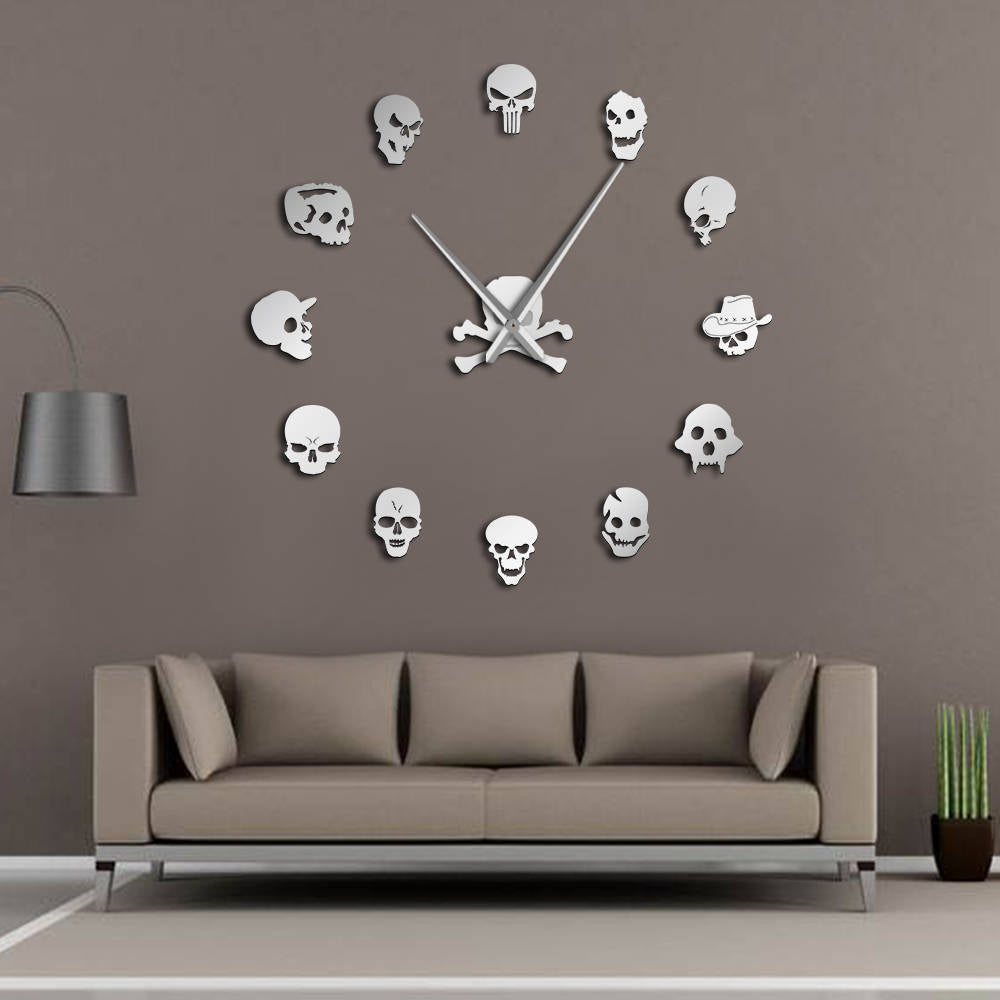 Different Skull Heads Horror Wall Art Giant Wall Clock