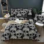 Flower Skull Beddings and Bed Sets Black Color Duvet Cover